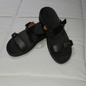 FitFlop Womens Edit Leather Slides Size 8